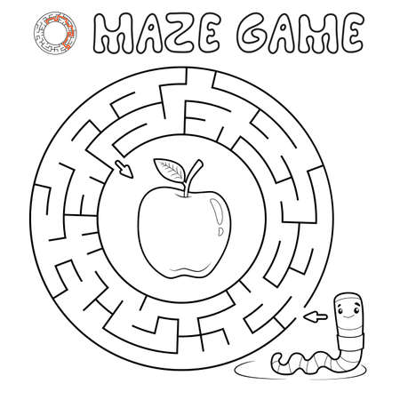 Maze puzzle game for children. Outline circle maze or labyrinth game with worm. Vector illustrations