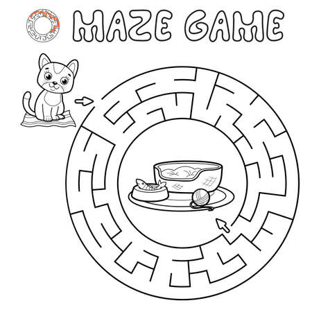 Maze puzzle game for children. Outline circle maze or labyrinth game with cat. Vector illustrations