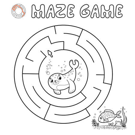 Maze puzzle game for children. Outline circle maze or labyrinth game with seal. Vector illustrations 일러스트