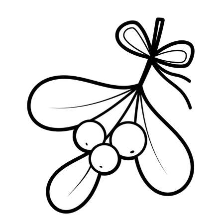 Christmas coloring book or page for kids. Viscum and berries black and white vector illustration