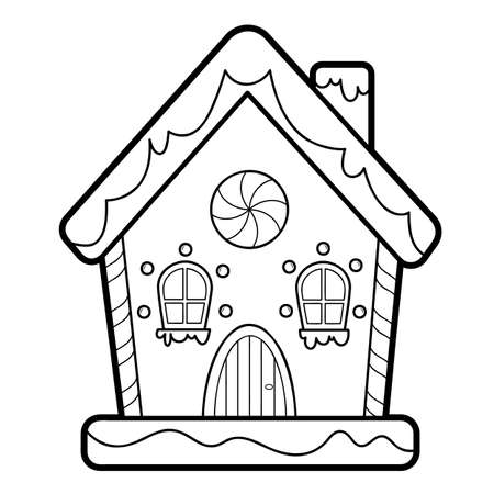 Christmas coloring book or page for kids. Gingerbread house black and white vector illustration