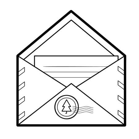 Christmas coloring book or page for kids. Envelope black and white vector illustration 일러스트