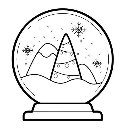 Christmas coloring book or page for kids. Christmas ball black and white vector illustration