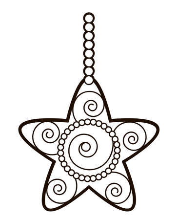 Christmas coloring book or page for kids. Christmas star black and white vector illustration