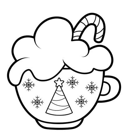 Christmas coloring book or page for kids. Cup black and white vector illustration 일러스트