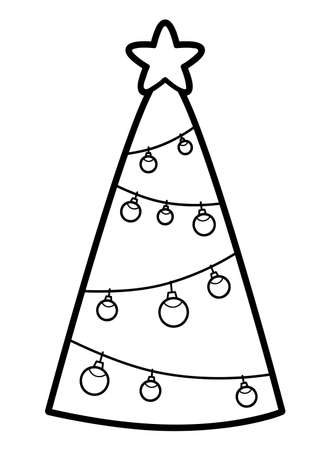 Christmas coloring book or page for kids. Christmas tree black and white vector illustration