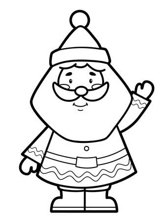 Christmas coloring book or page for kids. Santa claus black and white vector illustration 일러스트