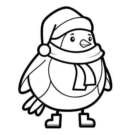 Christmas coloring book or page for kids. Christmas Bird black and white vector illustration 일러스트