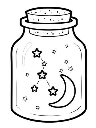 Christmas coloring book or page for kids. Christmas decoration black and white vector illustration 일러스트