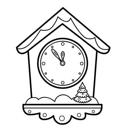 Christmas coloring book or page for kids. Clock black and white vector illustration  イラスト・ベクター素材