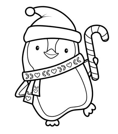 Christmas coloring book or page for kids. Christmas penguin black and white vector illustration  イラスト・ベクター素材