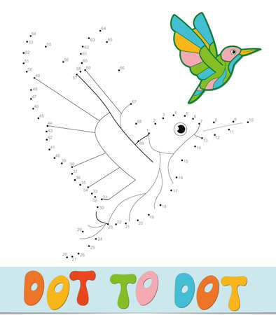 Dot to dot puzzle. Connect dots game. bird vector illustration