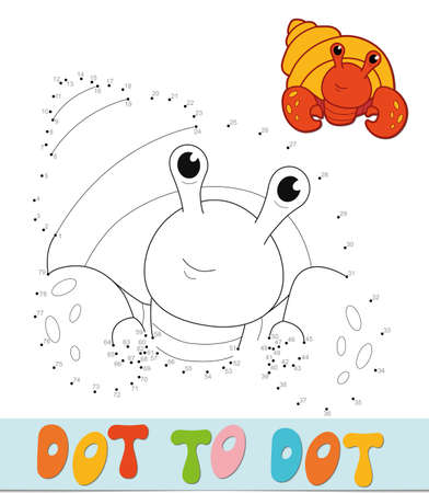 Dot to dot puzzle. Connect dots game. Cancer hermit vector illustration