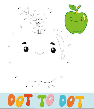 Dot to dot puzzle. Connect dots game. apple vector illustration