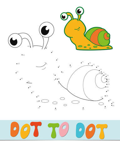 Dot to dot puzzle. Connect dots game. snail vector illustration  イラスト・ベクター素材