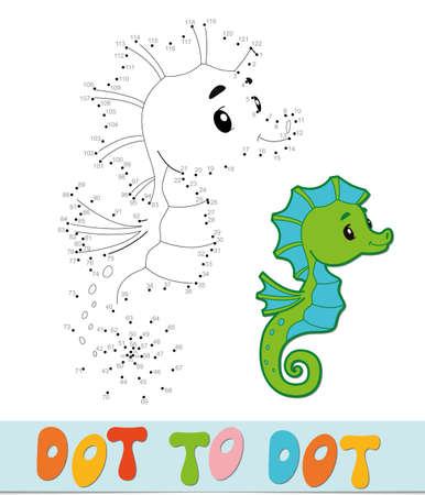 Dot to dot puzzle. Connect dots game. Sea Horse vector illustration  イラスト・ベクター素材