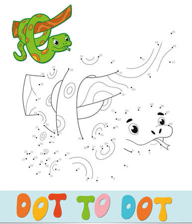 Dot to dot puzzle. Connect dots game. snake vector illustration  イラスト・ベクター素材
