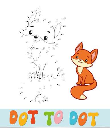 Dot to dot puzzle. Connect dots game. fox vector illustration