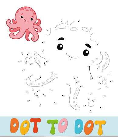 Dot to dot puzzle. Connect dots game. octopus vector illustration