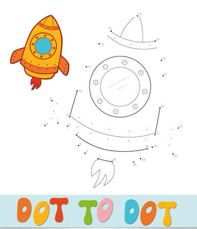 Dot to dot puzzle. Connect dots game. rocket vector illustration  イラスト・ベクター素材