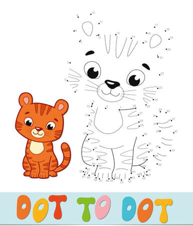 Dot to dot puzzle. Connect dots game. tiger vector illustration