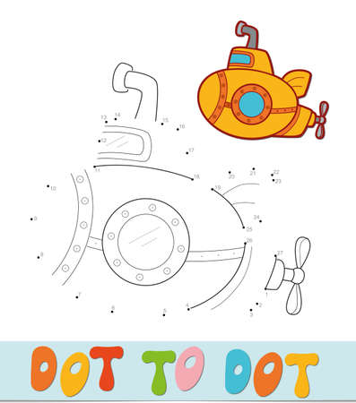 Dot to dot puzzle. Connect dots game. Submarine vector illustration  イラスト・ベクター素材