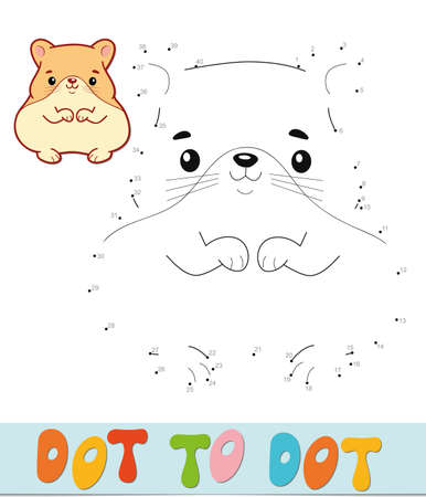 Dot to dot puzzle. Connect dots game. hamster vector illustration  イラスト・ベクター素材