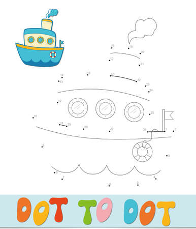 Dot to dot puzzle. Connect dots game. ship vector illustration