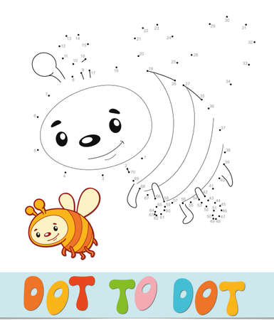 Dot to dot puzzle. Connect dots game. bee vector illustration  イラスト・ベクター素材