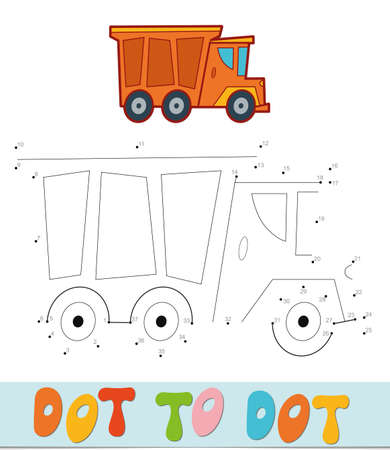 Dot to dot puzzle. Connect dots game. truck vector illustration