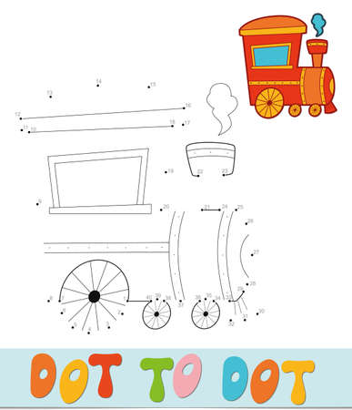 Dot to dot puzzle. Connect dots game. locomotive vector illustration  イラスト・ベクター素材