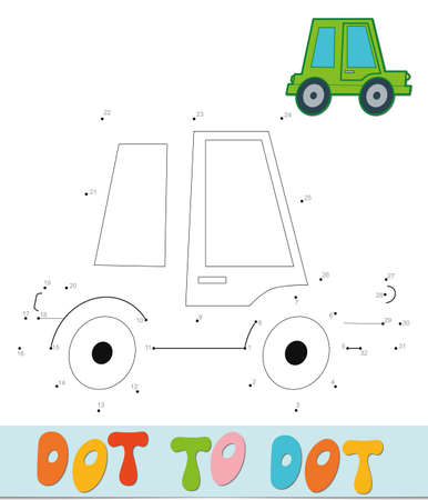 Dot to dot puzzle. Connect dots game. car vector illustration