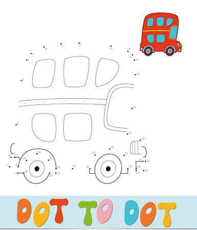 Dot to dot puzzle. Connect dots game. bus vector illustration