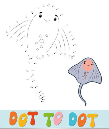 Dot to dot puzzle. Connect dots game. cramp-fish vector illustration