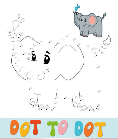 Dot to dot puzzle. Connect dots game. elephant vector illustration