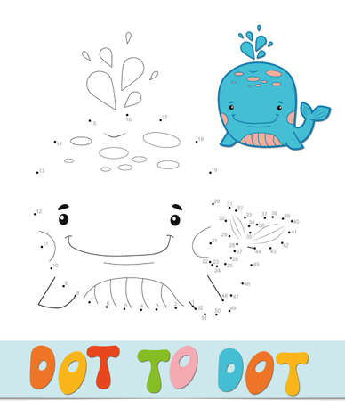 Dot to dot puzzle. Connect dots game. whale vector illustration