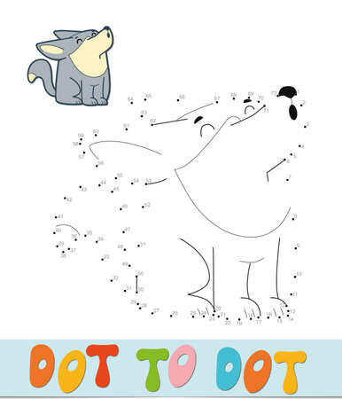 Dot to dot puzzle. Connect dots game. wolf vector illustration