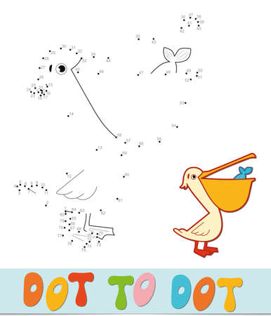 Dot to dot puzzle. Connect dots game. pelican vector illustration