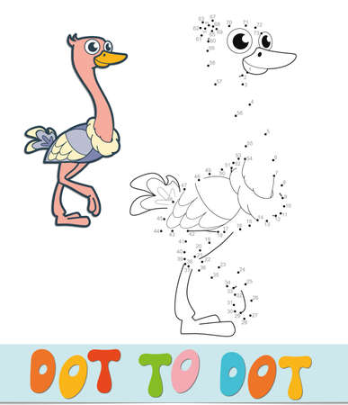 Dot to dot puzzle. Connect dots game. ostrich vector illustration