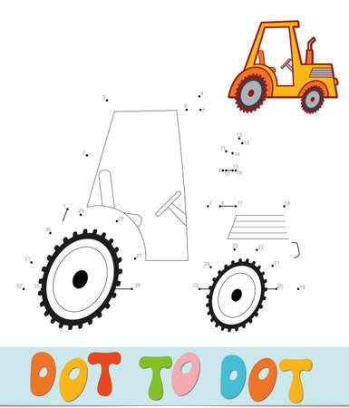 Dot to dot puzzle. Connect dots game. tractor vector illustration