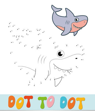Dot to dot puzzle. Connect dots game. shark vector illustration
