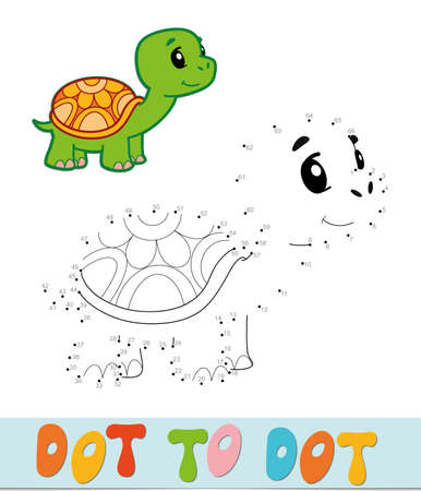 Dot to dot puzzle. Connect dots game. turtle vector illustration