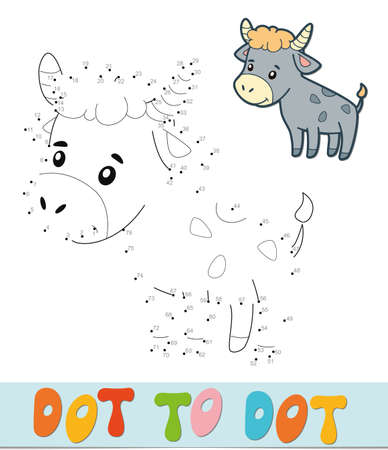 Dot to dot puzzle. Connect dots game. bull vector illustration