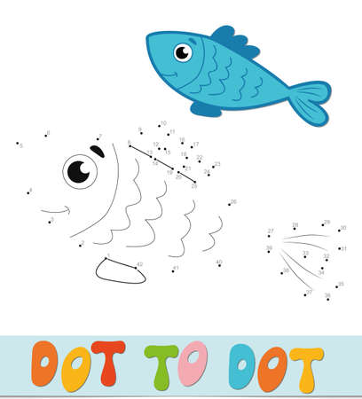 Dot to dot puzzle. Connect dots game. fish vector illustration