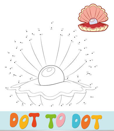 Dot to dot puzzle. Connect dots game. shell vector illustration