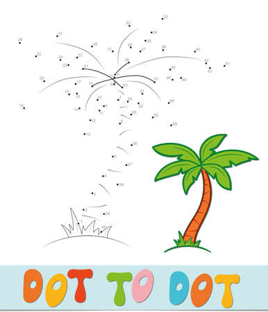 Dot to dot puzzle. Connect dots game. palm vector illustration