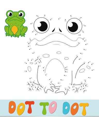 Dot to dot puzzle. Connect dots game. frog vector illustration
