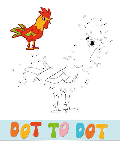 Dot to dot puzzle. Connect dots game. cock vector illustration  イラスト・ベクター素材