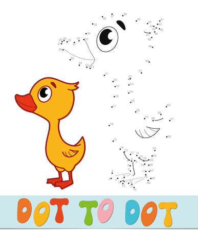 Dot to dot puzzle. Connect dots game. duckling vector illustration