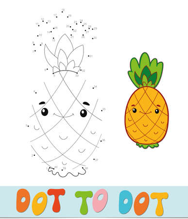 Dot to dot puzzle. Connect dots game. pineapple vector illustration  イラスト・ベクター素材